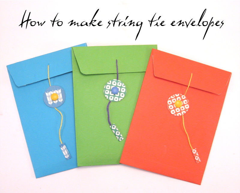 how to make string tie envelopes