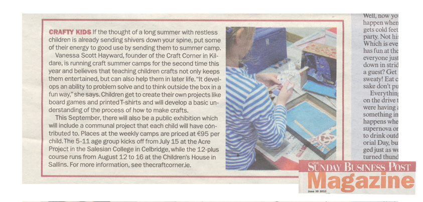 sunday business post article on the craft corner