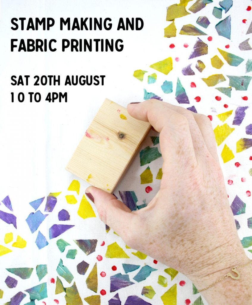 stamp making and fabric printing day course adults in celbridge the craft corner