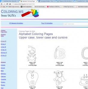 colouring pages alphabets