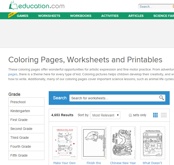 education.com free printable worksheets