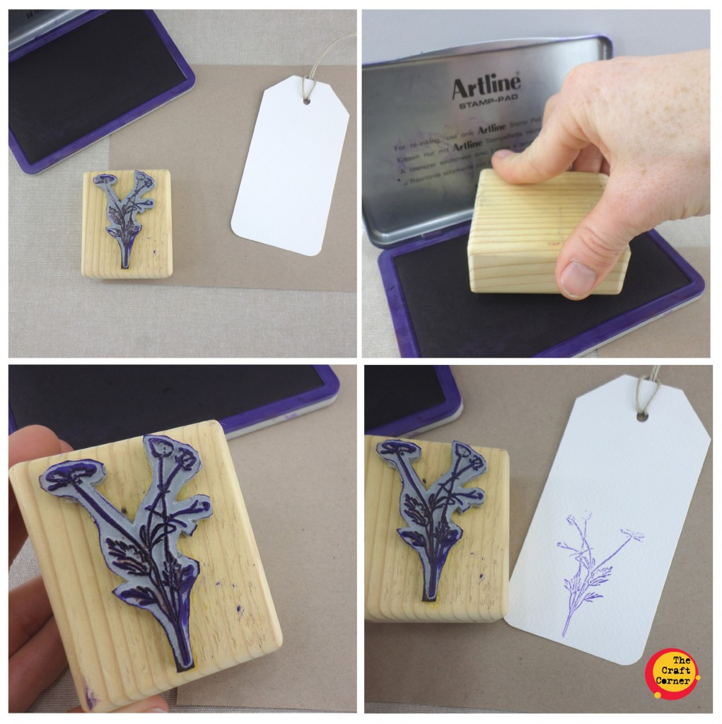 stamping your base layer on your gift tag in 4 easy steps with the craft corner