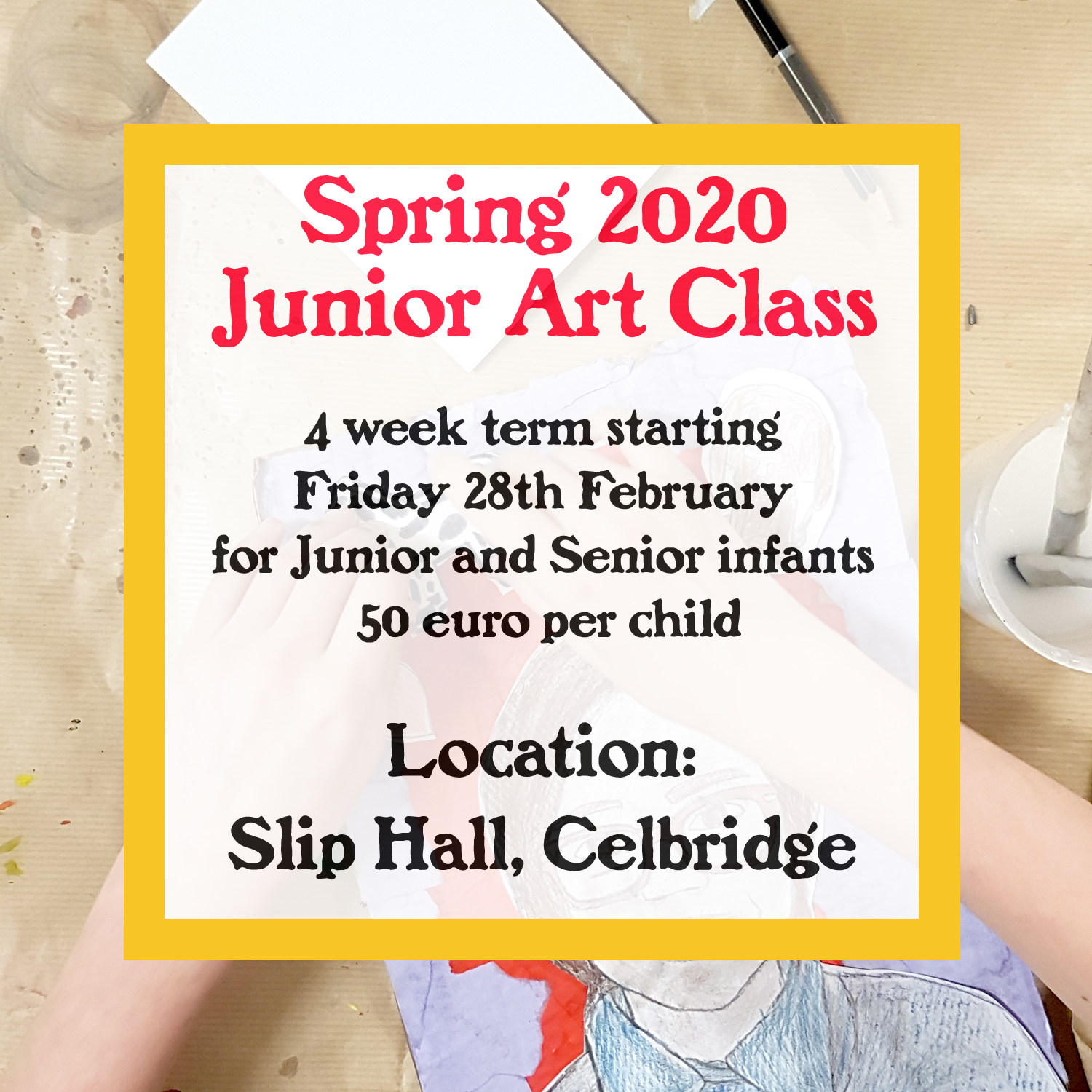 spring term of junior art classes in The Slip Hall Celbridge