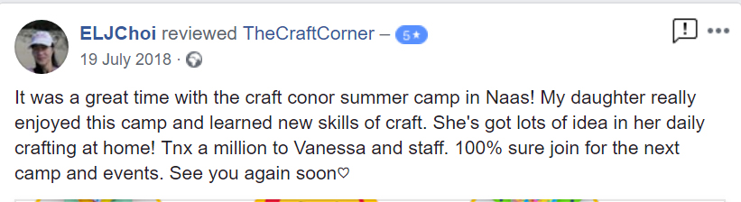 It was a great time with the craft conor summer camp in Naas! My daughter really enjoyed this camp and learned new skills of craft. She's got lots of idea in her daily crafting at home! Tnx a million to Vanessa and staff. 100% sure join for the next camp and events. See you again soon