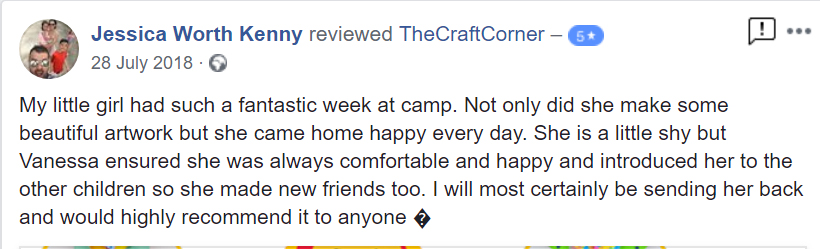 My little girl had such a fantastic week at camp. Not only did she make some beautiful artwork but she came home happy every day. She is a little shy but Vanessa ensured she was always comfortable and happy and introduced her to the other children so she made new friends too. I will most certainly be sending her back and would highly recommend it to anyone