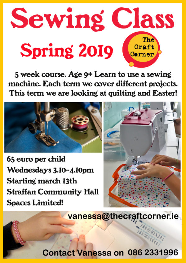 sewing classes for kids age 9+ Spring 2019