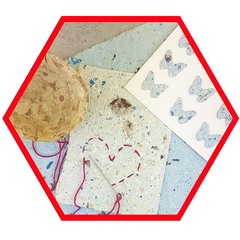 paper making workshop and mixed media artwork with teenagers