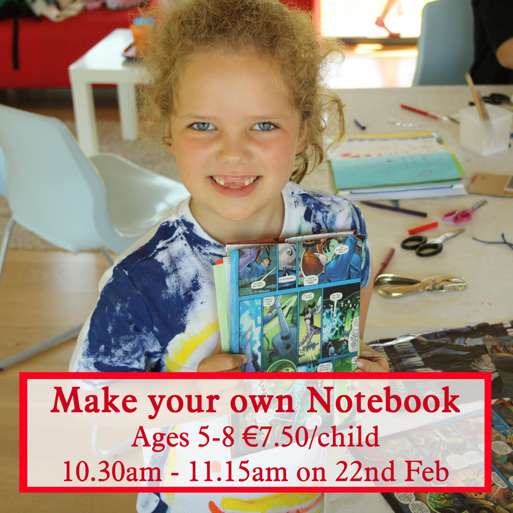 make your own notebook workshop for children age 5 to 8 years old