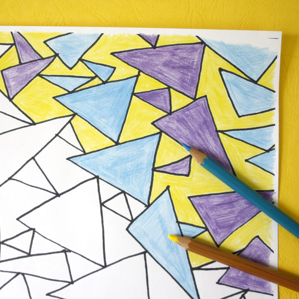 geometric triangles colouring sheets for adults