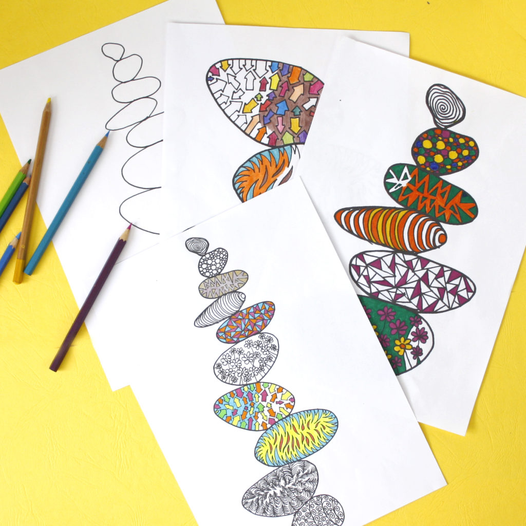 A bundle of 4 colouring pages balancing stones nature theme