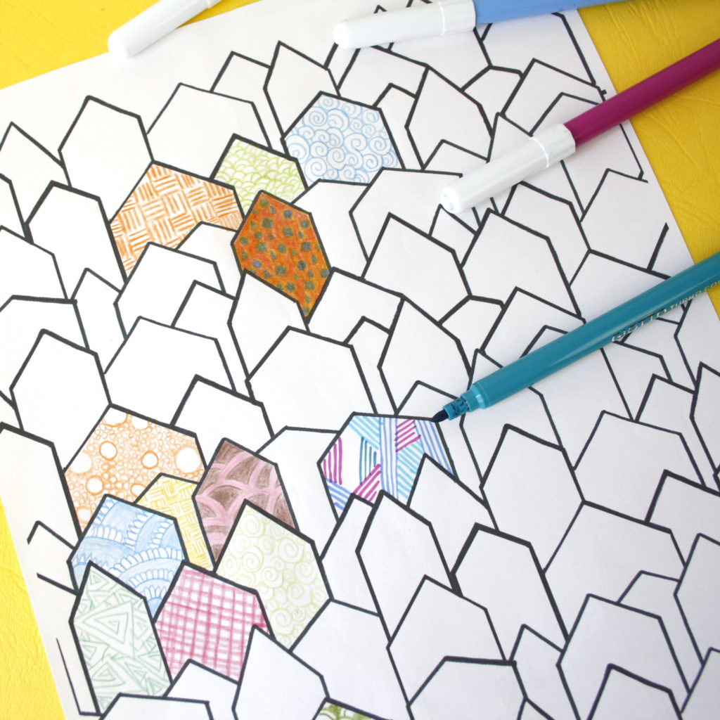 town houses colouring page to doodle and colour in