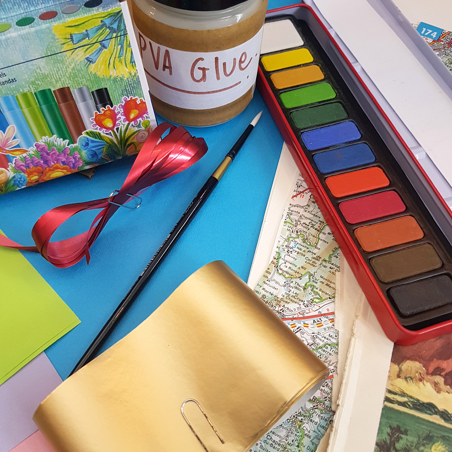pva glue paints oil pastels and lots of pretty paper
