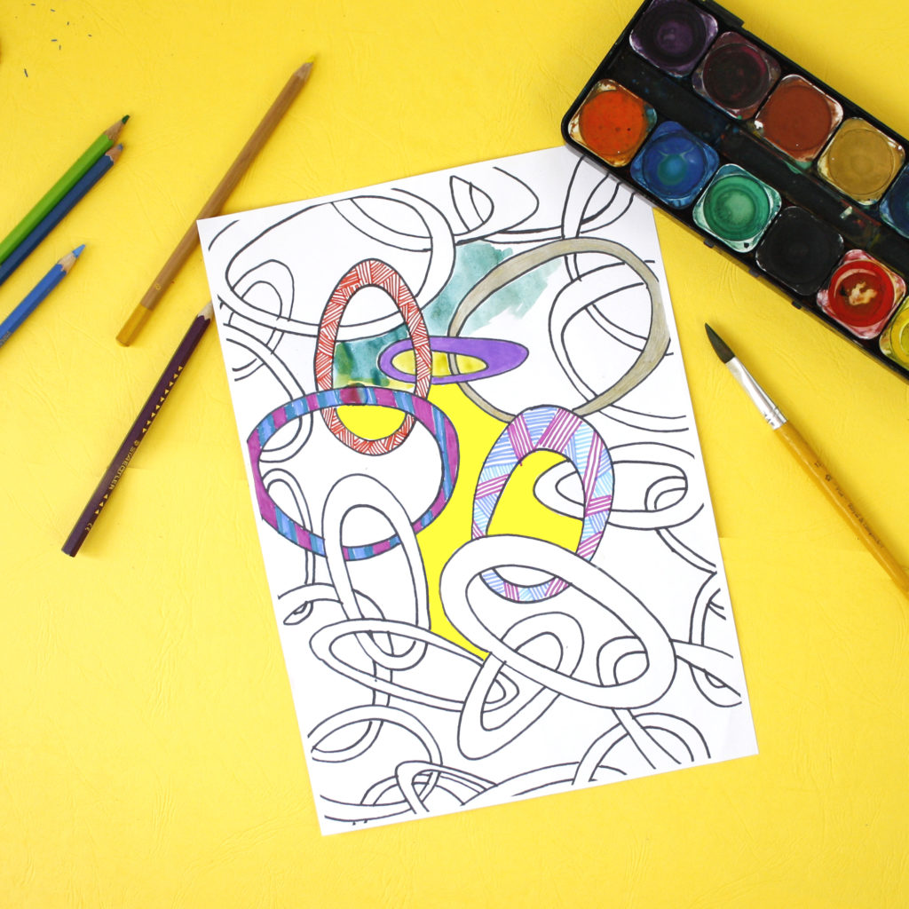 relaxing with a patterned zen colouring sheet