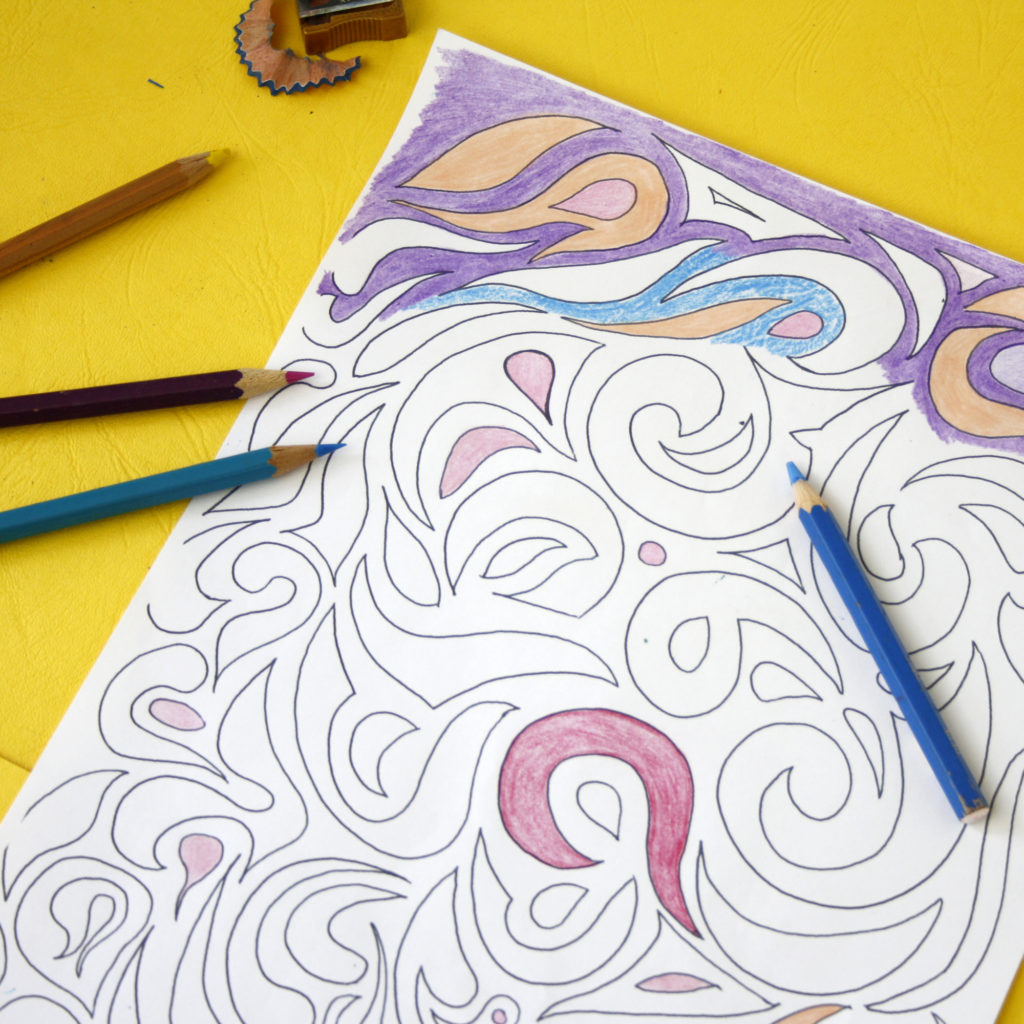 zentangle swirling pattern colouring sheets
